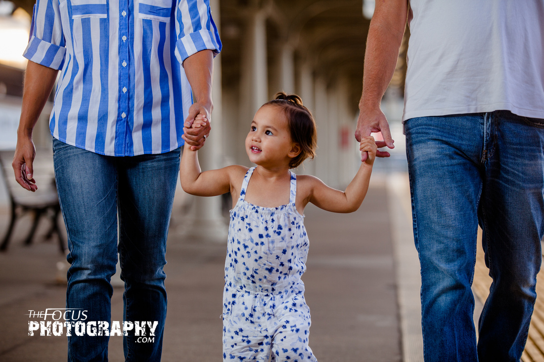 Family photo shoot at the Lancaster train station