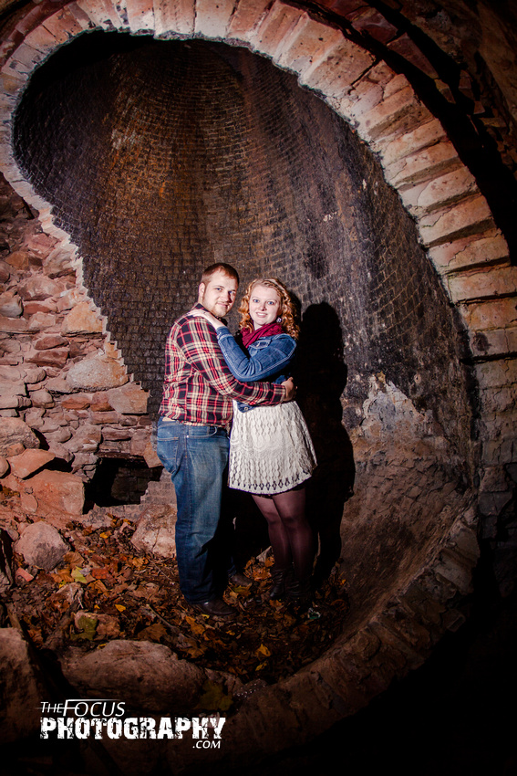 fall engagement photo in a rock furnace