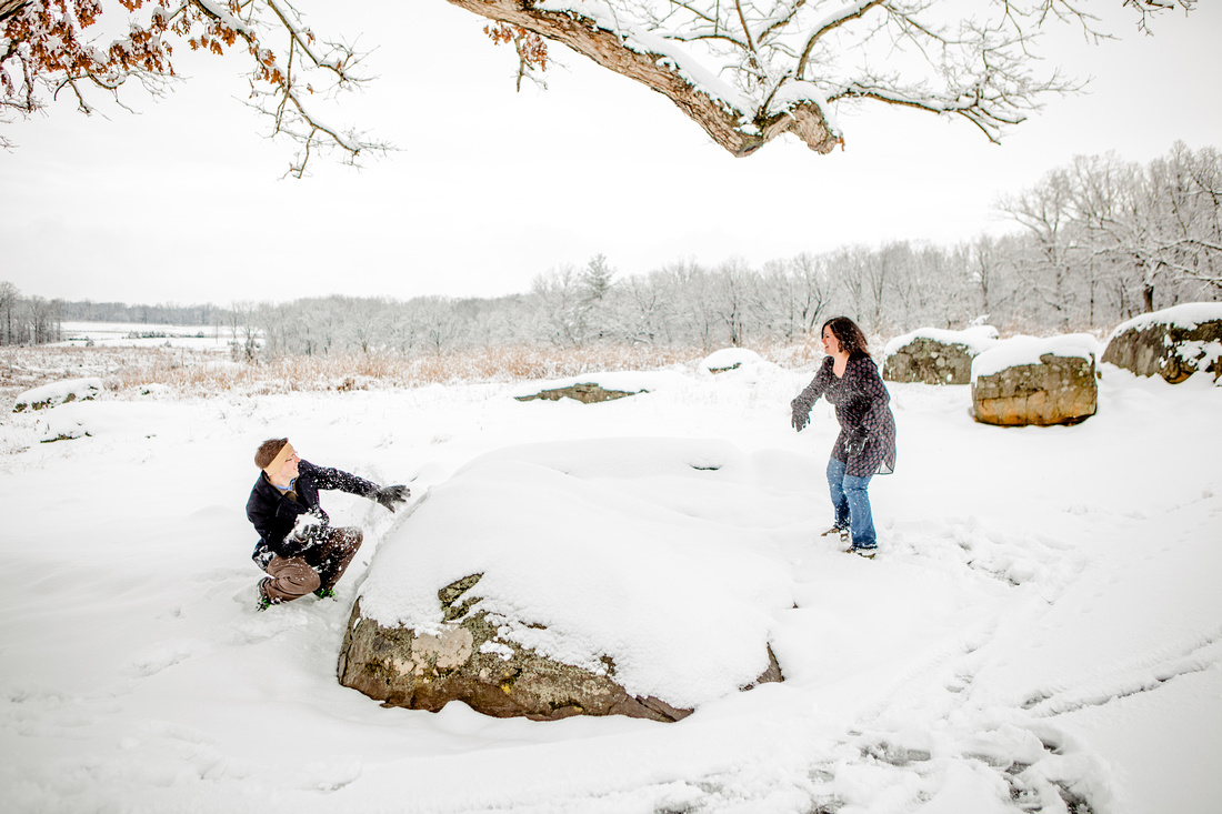 snow ball fight portraits