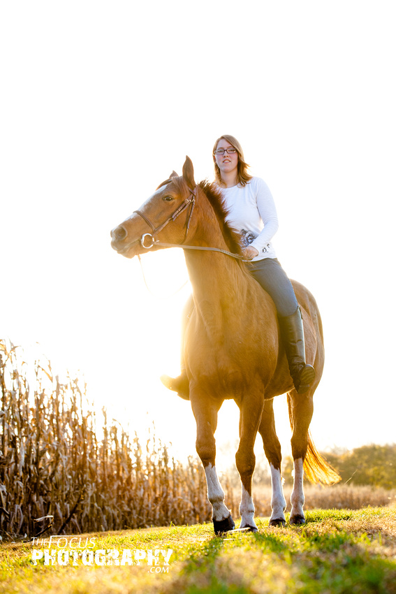 girl and horse riding in a corn field