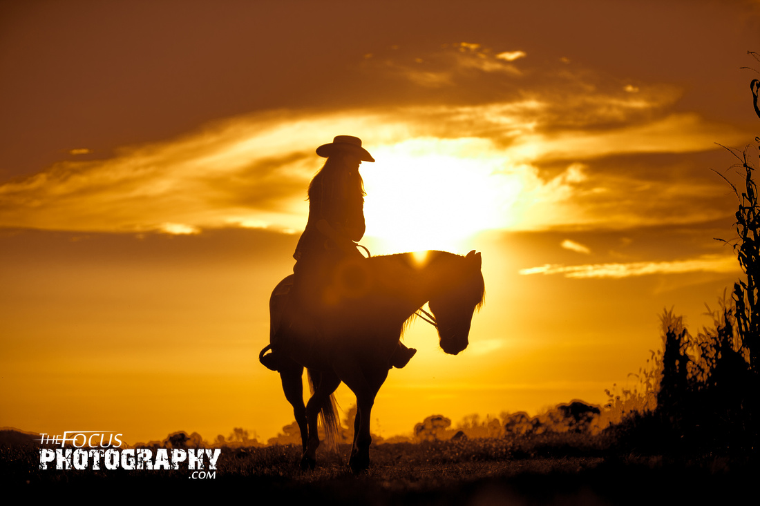 Senior portrait cowgirl horse sunset