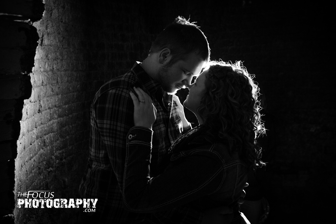 engagement photo black and white
