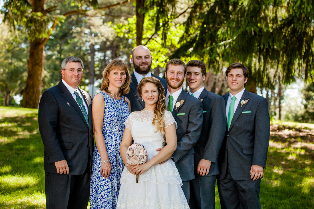 Grooms family on the wedding day