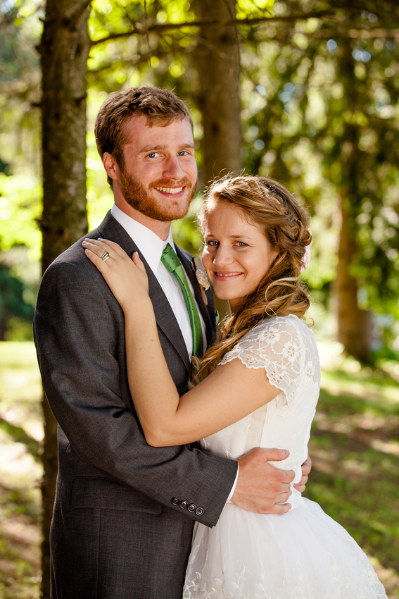 Bride and groom portrait on wedding day