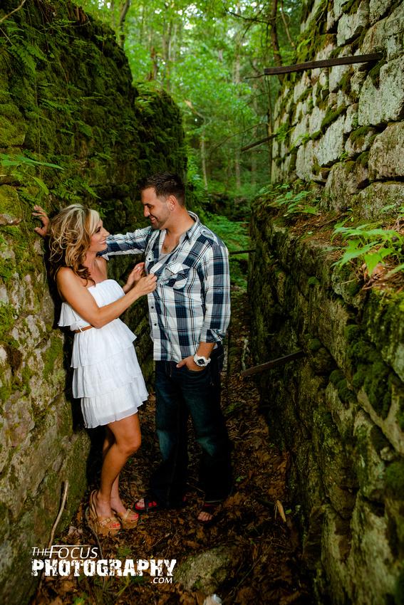 Couple portrait rock wall