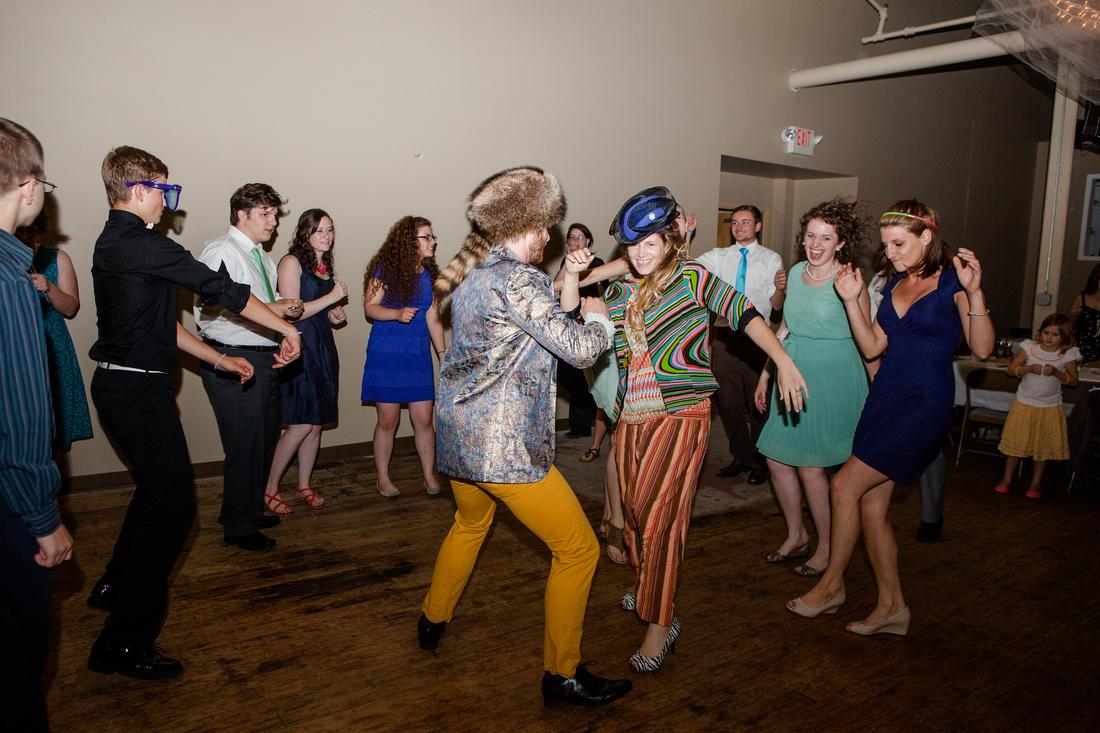 groovy Bride and groom on the dance floor